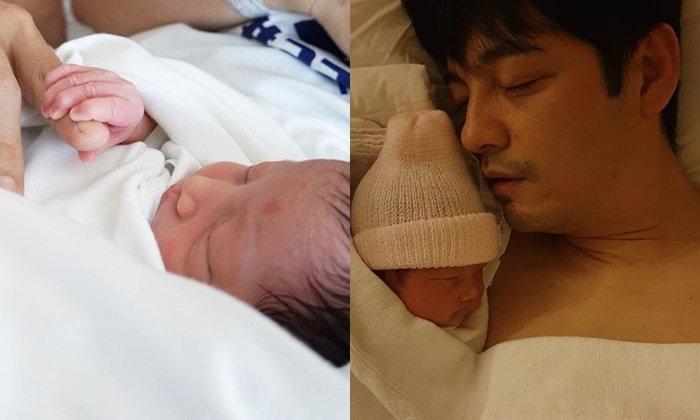 """""""ศรราม"""" เห่อลูกสาวมาก ภาพ """"น้องวีจิ"""" นอนในอ้อมกอดอุ่นๆ ของคุณพ่อ"""