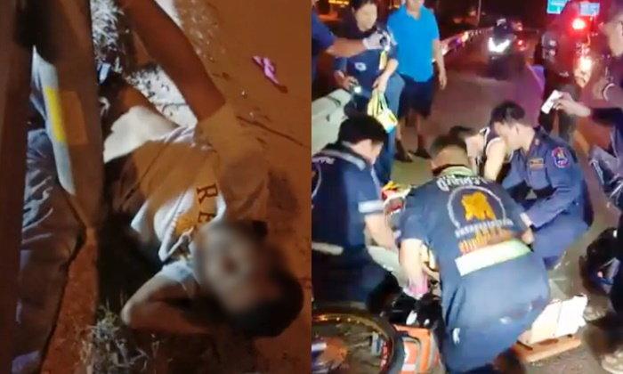 วิจารณ์สนั่น ตำรวจอาสาไล่ถีบรถต้องสงสัย ทำหนุ่มล้มคว่ำ-ขาหักผิดรูป