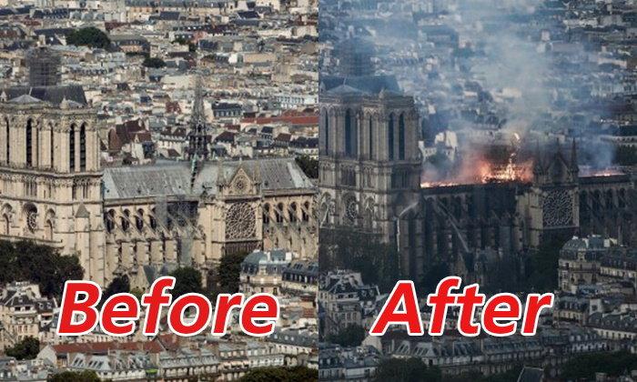 เทียบชัดๆ วิหารน็อทร์-ดามแห่งปารีส ก่อนและหลังถูกเพลิงผลาญ (ประมวลภาพ)