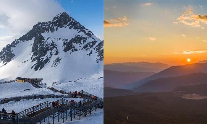 """อลังการตลอดปี """"ภูเขาหิมะมังกรหยก"""" แลนด์มาร์กในลี่เจียง"""