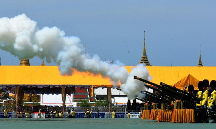 พระราชพิธีบรมราชาภิเษก: เหล่าทัพยิงสลุตหลวงเฉลิมพระเกียรติ