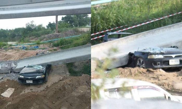 คานสะพานมอเตอร์เวย์โคราชหล่นทับเก๋ง คนงานหนีตายรอดหวุดหวิด