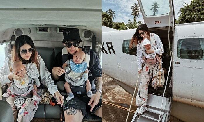 """""""มีก้า-มีญ่า"""" ขึ้นเครื่องบินครั้งแรก """"มาร์กี้-ป๊อก"""" พาลูกเที่ยวเกาะแบบส่วนตัว"""
