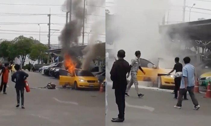 ลุงแท็กซี่จุดไฟเผาตัวเองคารถ เจ็บปางตายหน้าห้างดัง ตำรวจพบเงื่อนงำ