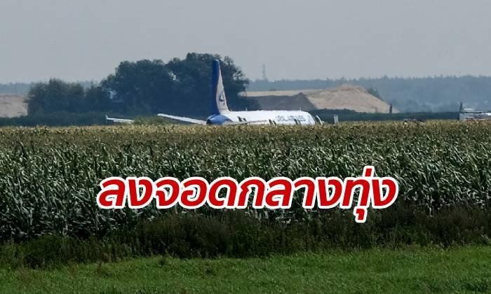 เครื่องบินรัสเซียดิ่งลงทุ่ง นักบินจอดฉุกเฉิน ฝูงนกบินชนเครื่องยนต์พัง