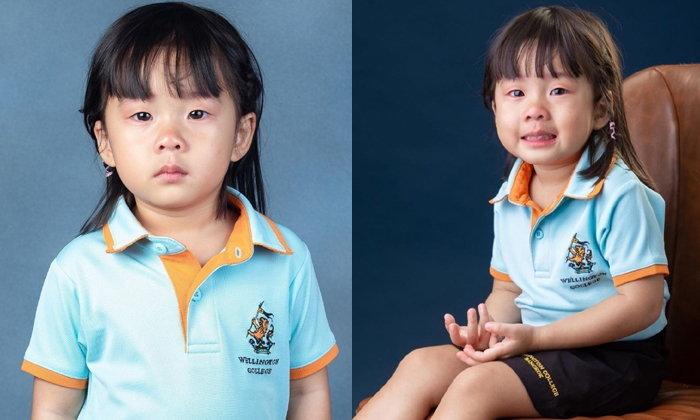 """""""เป่าเปา"""" ร้องไห้แต่ต้องยิ้มแบบฝืนๆ เมื่อไม่พร้อมถ่ายรูปที่โรงเรียน"""