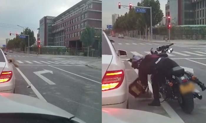 ทิ้งมา-ปากลับ ไม่โกง! รถเก๋งโยนขยะทิ้งนอกรถ สาวไบค์เกอร์ปากลับคืนไปในรถ