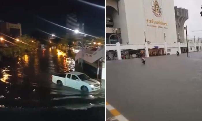อุตุฯเตือนวันนี้กทม. ฝนตก 60% เปิดภาพทะเลกรุงเทพฯ ฝนถล่มทะลุ 100 มม.