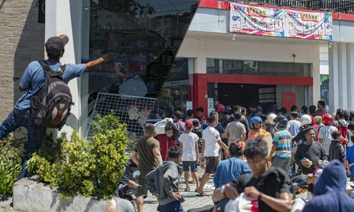 บุกร้านค้า แย่งอาหารประทังชีวิต หลังเกิดแผ่นดินไหวและสึนามิในอินโดนีเซีย