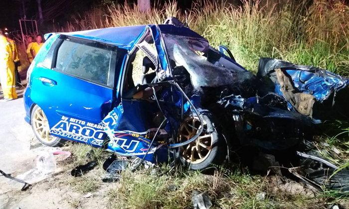 ชนสนั่น! อุบัติเหตุรถชน 3 คันซ้อนใกล้โรงไฟฟ้าวังตาผิน ตาย 2 เจ็บ 1