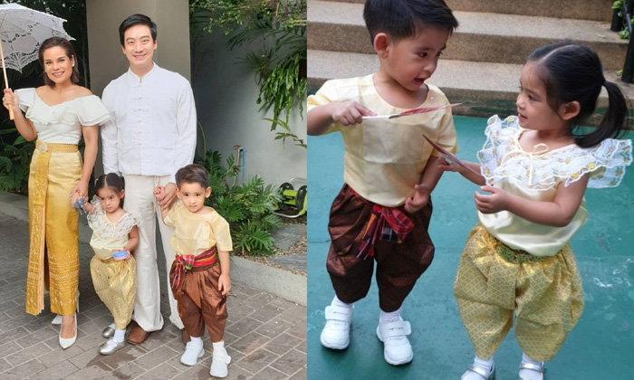 """ครอบครัวน่ารัก """"โอปอล์-หมอโอ๊ค"""" พาลูกๆ ใส่ชุดไทยไปงานลอยกระทง"""