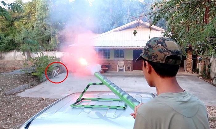 """จับ """"เต้ไรเดอร์"""" ยูทูปเบอร์ดัดแปลงพลุ-ปืน ยิงหมาเข้าข่าย พ.ร.บ.ทารุณกรรมสัตว์"""