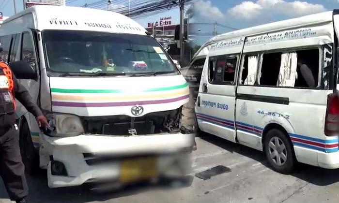 รถตู้โดยสารซิ่งแข่งกัน เสียหลักชนกวาด 6 คันรวด เจ็บนับ 10