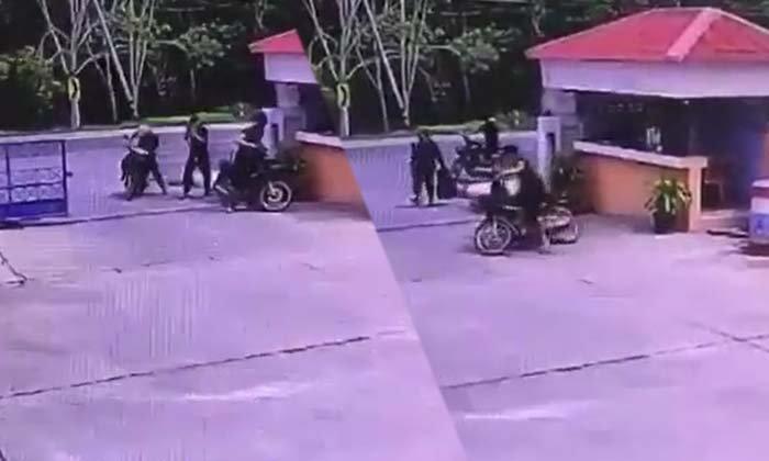 """""""ก่อเหตุ 30 วินาที"""" เปิดคลิป 6 คนร้าย บุกยิงถล่ม สภ.นาประดู่ ตำรวจเสียชีวิต 1 นาย"""