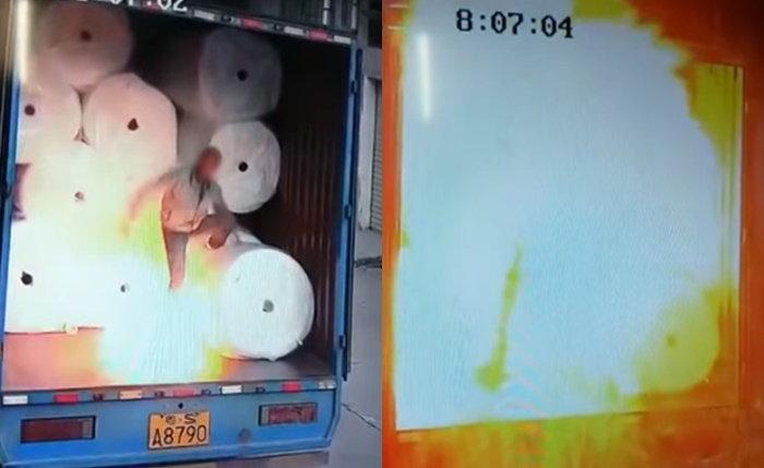 ไฟฟ้าสถิตเป็นเหตุ นาทีสยองเปลวไฟลุก ท่วมร่างหนุ่มคนงานชาวจีน (มีคลิป)