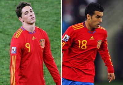 สเปนอาจใช้แข้งชุดเดิมตอร์เรส,เปโดรแย่งลง