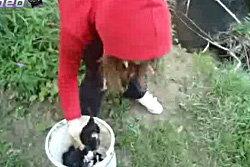 เหี้ยม! คลิปสาววัยรุ่นโยนลูกหมาลงน้ำที่เชี่ยวกราก