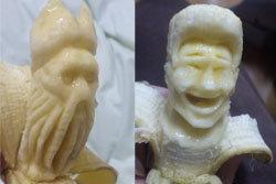 สุดทึ่ง! ศิลปะการแกะสลักกล้วยรูปหน้าคน
