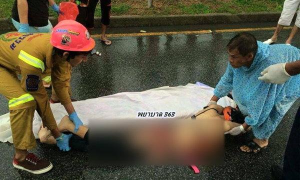 รถบรรทุกเสยจยย. แม่เจ็บ ลูกสาวถูกลากกว่า 2 กม.ดับสยอง