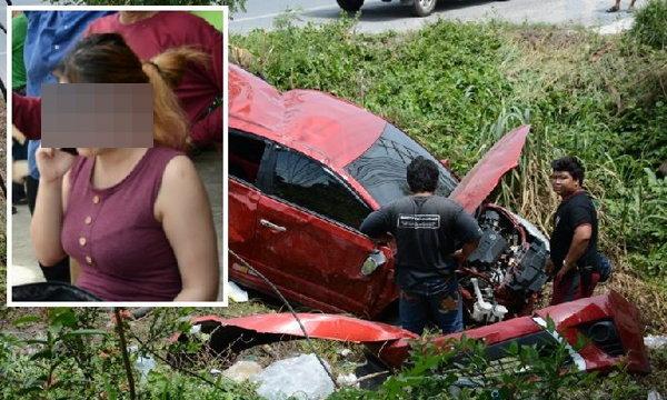 """""""น้องจูน"""" พริตตี้สาวคนดังหวิดดับ ซิ่งรถแหกโค้งตกถนน"""