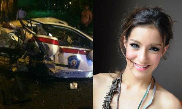 ดาราสาวซิ่งเบนซ์ชนรถตำรวจ รองสวป.สุพรรณบุรีดับ