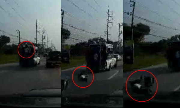 เกือบตาย! คลิปหนุ่มโชว์ดึงข้อท้ายรถสองแถว พลาดหล่นตุ้บกลางถนน