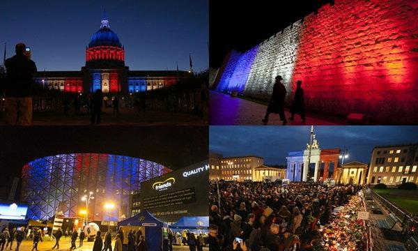 ทั่วโลกร่วมไว้อาลัย ประดับไฟสีธงชาติฝรั่งเศส