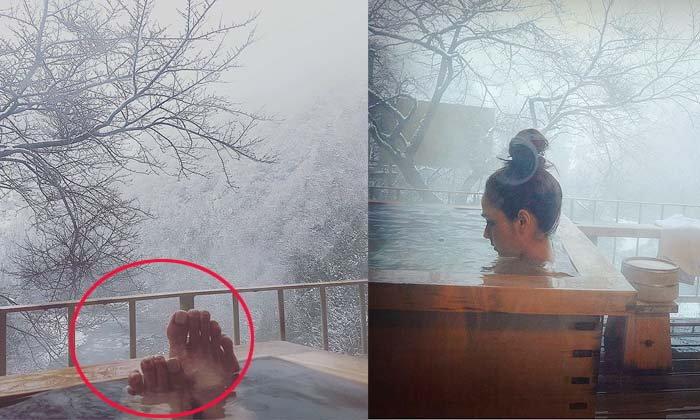 ชมพู่ อารยา โชว์เท้าระหว่างแช่ออนเซน เจอดราม่าเลย
