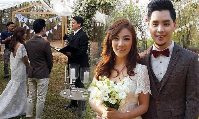 ทอม Room39 ควงแฟนนอกวงการแต่งงานในสวน สุดโรแมนติก