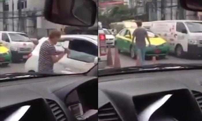 แชร์ว่อน! คลิปแท็กซี่ป้ายแดง ทุบกระจกรถคู่กรณีพังยับ