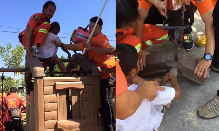 น่าสงสาร เด็กน้อยนิ้วติดเครื่องเล่นในโรงเรียน กู้ภัยช่วยทุลักทุเล