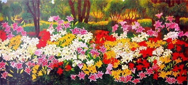 หนาวนี้...ชมสีสันดอกไม้ บนผ้าใบของจรูญ บุญสวน