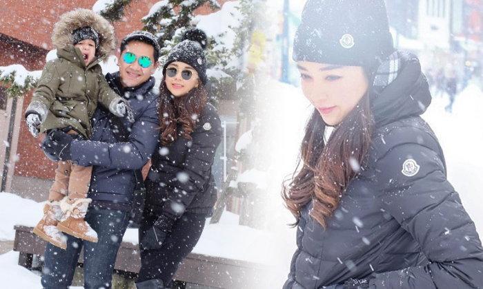 """""""เป้ย ปานวาด"""" ควงพ่อลูก เที่ยวทริปส่งท้ายปี ตะลุยหิมะญี่ปุ่น"""
