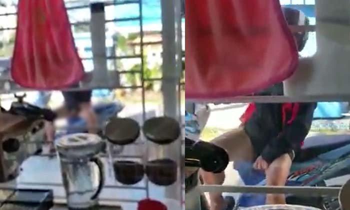 ผวา! หนุ่มจอดจยย.สไลด์หนอนหน้าร้านนม มารอบที่ 2 แล้ว