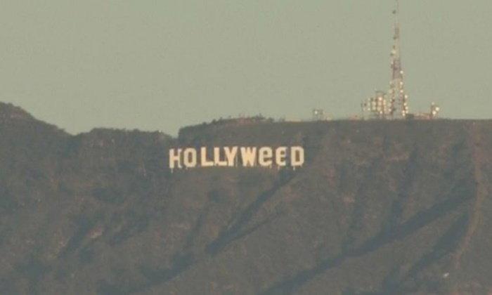 """ชาวเมืองงง..รับปีใหม่ ตื่นมาเจอป้ายดังเปลี่ยนเป็น """"Hollyweed"""""""
