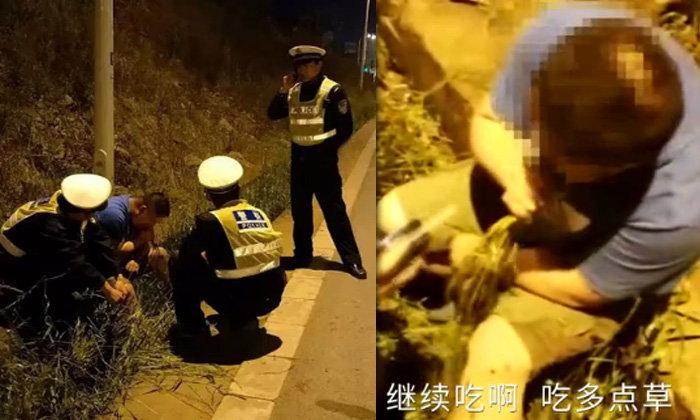 ชายเมาแล้วขับแต่กลัวตำรวจจับ วิ่งลงรถดึงหญ้าข้างทางกินไม่หยุด
