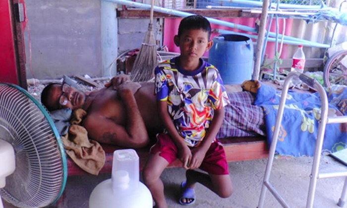 เด็ก 10 ขวบพ่อแม่แยกทาง ต้องดูแลปู่ป่วยที่อ่างทอง