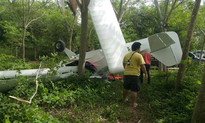 ระทึก! เครื่องบินเล็กตกในป่ายางระยอง เจ็บ 2