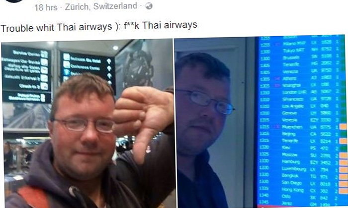 """หนุ่มเยอรมันขาบวมในตำนาน ด่า """"การบินไทย"""" ไม่ยอมให้ขึ้นเครื่อง"""