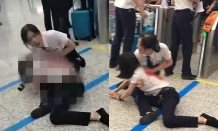 ระทึก! สาวตกรถไฟ ควักมีดแทงเจ้าหน้าที่เลือดโชกกลางสถานีรถไฟในจีน