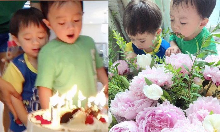 """วันเกิด """"ชมพู่ อารยา"""" สุดน่ารักเมื่อ """"สายฟ้า-พายุ"""" พยายามเป่าเค้กกันน่าเอ็นดู"""
