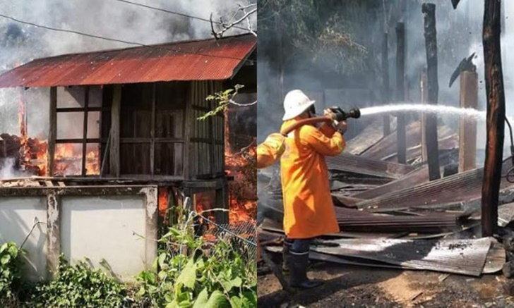 คุณยายเข่าทรุด ไฟไหม้บ้านวอดทั้งหลัง เงินสดเกือบแสนมลายไปในพริบตา