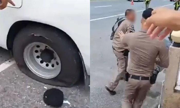 """ตำรวจทางหลวงเคลียร์ดราม่า """"ปะทะคารมกระบะ"""" ปัดเจาะยางรถระเบิด"""
