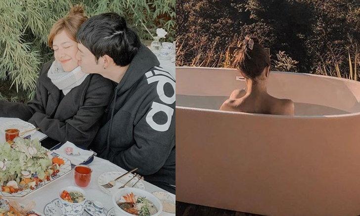 """""""แนท ณัฐชา"""" ปล่อยของหลังแต่งงาน โชว์ลีลาอาบน้ำกลางแจ้ง รูปนี้สามีถ่ายให้"""