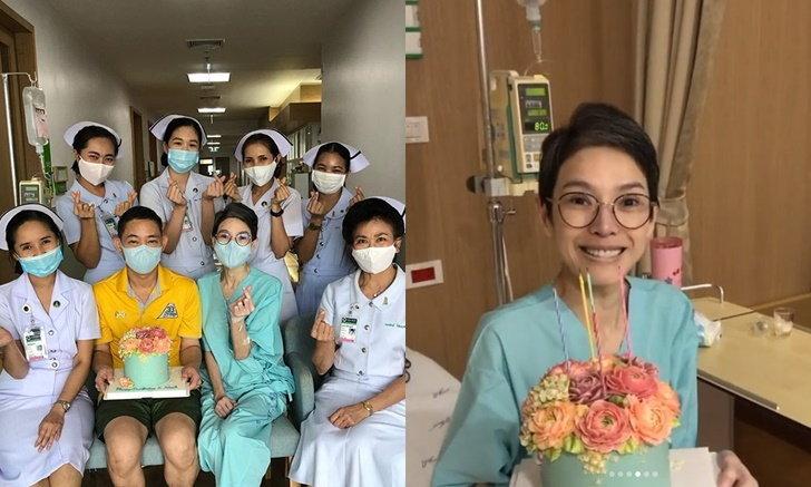 """""""นิ้ง กุลสตรี"""" ขอบคุณทีมพยาบาล ยกเค้กมาเซอร์ไพรส์วันเกิด"""