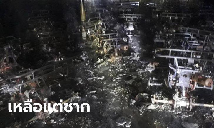ระทึก ไฟไหม้โรงจอดรถ ATV เสียหายวอดกว่า 40 คัน ใช้ถังดับเพลิงไม่ได้หวั่นระเบิด