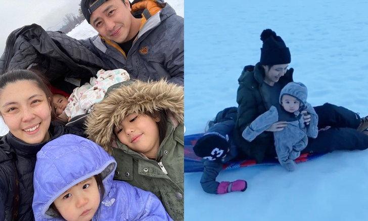 """""""เจนนี่ โปลิตานนท์"""" ความสุขของคนแม่ลูก 3 พาเด็กๆ เล่นหิมะกันสนุกสนาน"""