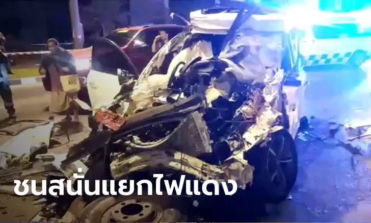 เก๋งพุ่งเสยท้ายรถบรรทุกติดไฟแดง ชนต่อเป็นทอดๆ เสียชีวิต 1 ศพ บาดเจ็บ 8 ราย