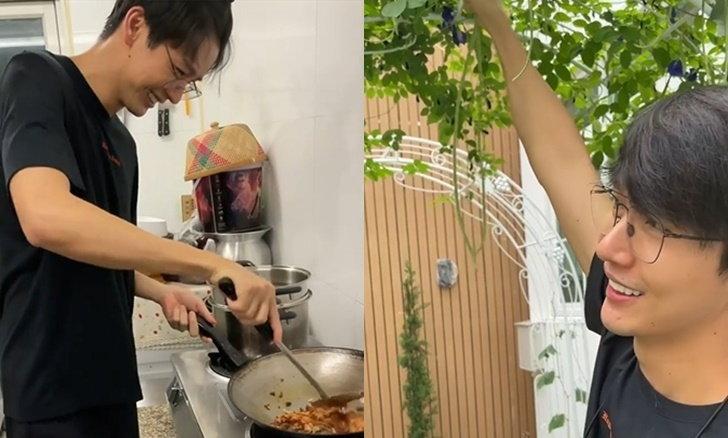 """""""ดีเจพุฒ"""" กักตัวยิ่งหวาน เก็บผักที่ปลูกเองข้างบ้านทำกับข้าวให้ """"จุ๋ย"""""""