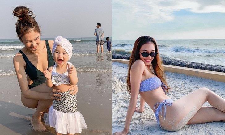 """หุ่นแม่แจ่มมาก """"เนย โชติกา"""" พาลูกเที่ยวทะเล แซ่บปังกับช็อต ขอแม่เล่นทรายบ้าง"""